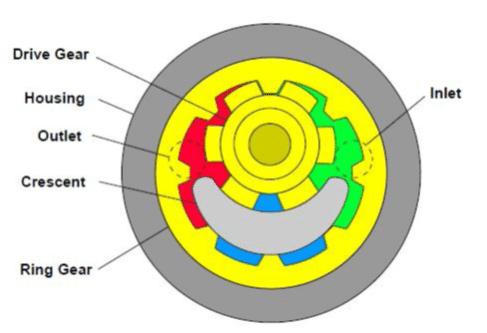 Pompe hydraulique à engrenages internes